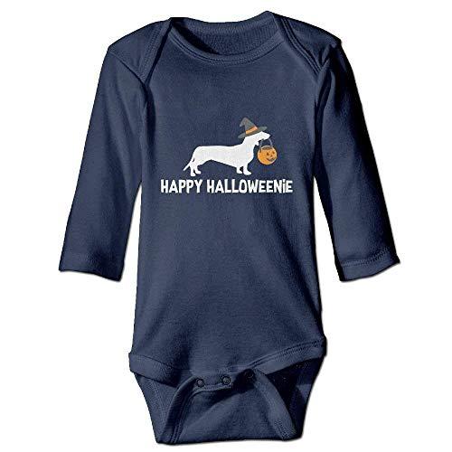 Wishesport FUNINDIY Newborn Baby 100% Cotton Long Sleeve Bodysuit Lap Shoulder Bodysuits for Dachshund Halloween 2017 Navy]()