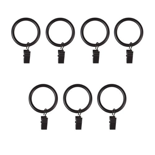 - Umbra Clip Curtain Rings - Extra Large Curtain Rings with Metal Clips for 1.25 Inch Curtain Rods, Set of 7, Black