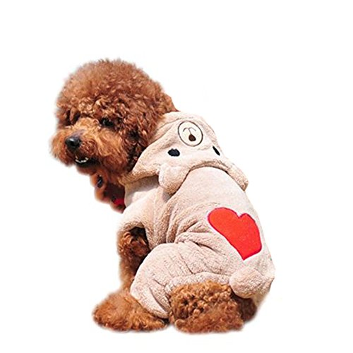 [Charberry Pet Dog Warm Clothes Puppy Jumpsuit Hoodie Doggy Heart (XS, Coffee)] (Snuggles Dog Costume)