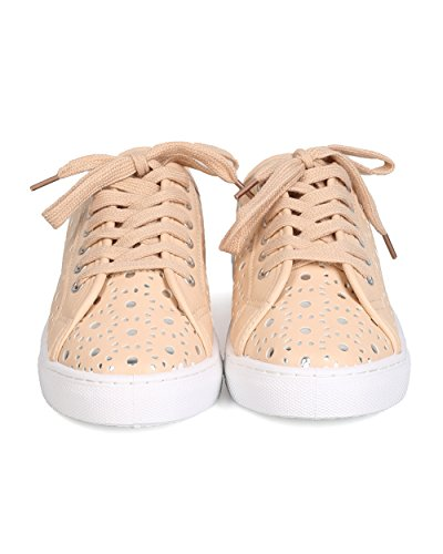 Qupid Gk01 Femme Similicuir Perforé Métallique Lace Up Sneaker - Nude