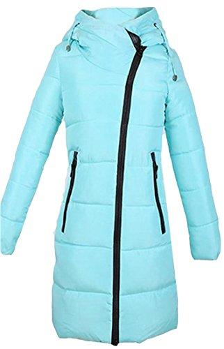 Cappotto Blu Eku 2xl Basamento Il Donne Outwear Del Collare Addensare Lago Giù Delle Cerniera Solida WTP6xq