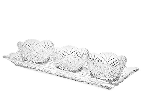 Deluxe Fruit Dried Tray (Le'raze Elegant Appetizer Serving Tray Condiment Server and Dip Bowl Set, Crystal Sparkling Design Relish Tray, For Dried Fruits, Nuts, Candy, and Dips)