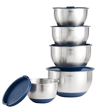 VonShef 5 Piece Nested Mixing Bowls Set With Lids, Non-Slip Surface, Measurement Marks and 3 Grater Attachments -Stainless Steel Mirror Finish