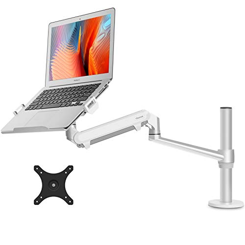 "viozon Monitor or Laptop Mount, Single Gas Spring Arm Desk Stand/Holder for 17-32"" Computer Monitor, Extra Laptop Tray Fits 12-17"" Laptops/Notebook"