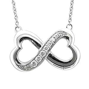 Sterling Silver Infinity Heart 7 Stone Diamond Pendant Necklace (1/4 carat)