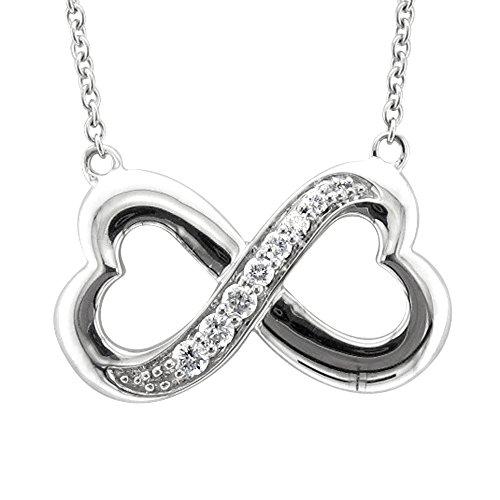 Sterling Silver Infinity Heart 7 Stone Diamond Pendant Necklace (1/4 carat) (Silver Diamond Necklace Pave)