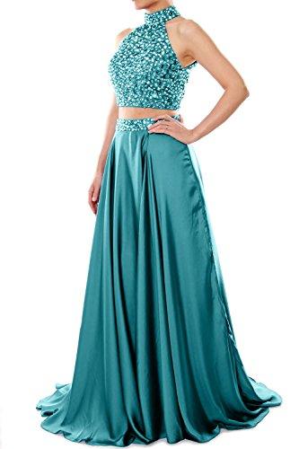 MACloth Women Strapless Crystal Chiffon Long Prom Dress Evening Formal Ball Gown (EU38, Gris)