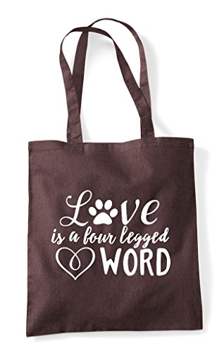 Brown Shopper Four Legged Tote A Bag Love Is Word Statement Pet Animal 4q1PaxBP