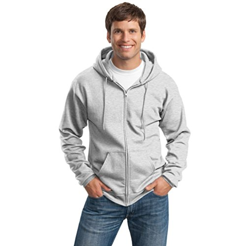 Port & Company Men's Big And Tall Full-Zip Hooded Sweatshirt Ash by PORT AND COMPANY