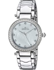 Invicta Womens Wildflower Quartz Stainless Steel Casual Watch, Color:Silver-Toned (Model: 22193)