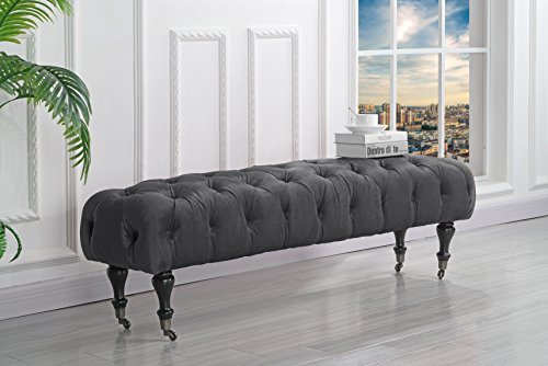 Classic Tufted Velvet Bedroom Vanity Bench with Casters (Grey) ()