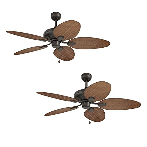 Set of 2 Harbor Breeze Tilghman 52-in Aged Bronze Outdoor Downrod or Flush Mount Ceiling Fan ENERGY STAR by Harbor Breeze