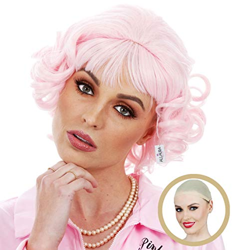 ALLAURA Pink Frenchie Wig + Wig Cap, Grease