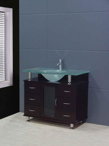 - Design Element Huntington Single Drop-In Sink Vanity Set with Integrated Tempered Glass Countertop, 36-Inch