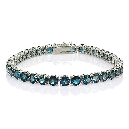 Sterling Silver London Blue Topaz 5mm Round Tennis Bracelet by Ice Gems