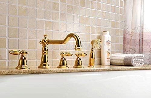 HF-ZEN 蛇口ラグジュアリーゴールドポーランドバースクリニーク浴槽の蛇口三ハンドルSoildミキサーのタップ、マルチ シャワー 降雨