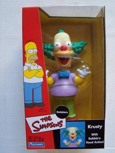KRUSTY THE CLOWN * BOBBLERS * The Simpsons Bobble Head Figure from Playmates -