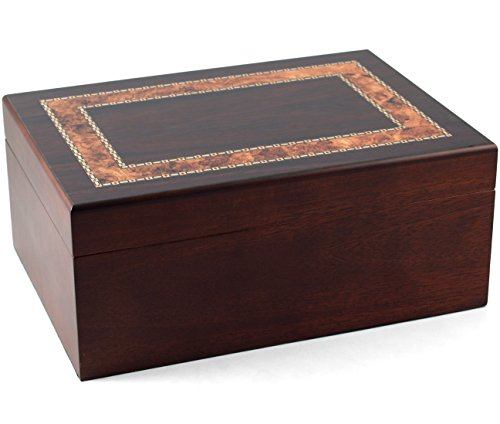 (Black Walnut With Burl Inlay Cigar Humidor)