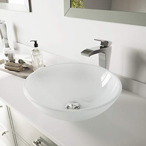 VIGO White Frost Vessel Sink and Blackstonian Vessel Faucet with Pop Up, Chrome