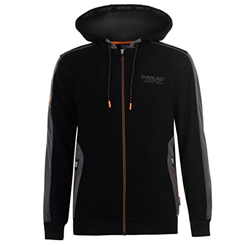Everlast Mens Polar Fleece Zip Hoody Lined Hoodie Hooded Top Long Sleeve Full Black Small