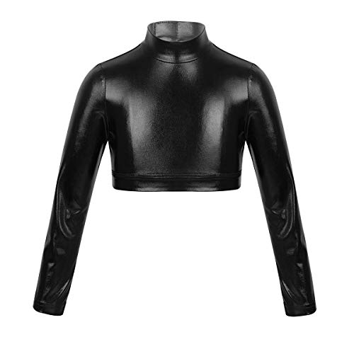 (TiaoBug Kids Girls Solid Color Long Sleeve Cheerleading Turtleneck Crop Top for Dancing Stage Performance Workout Black Glossy Metallic)