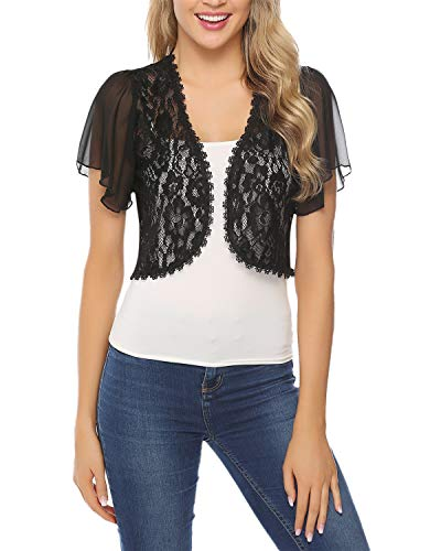 Hawiton Women Shrug Short Sleeve Lace Bolero Jacket Open Front Cropped Cardigan Black
