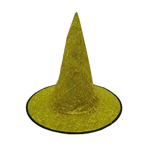 Sunny&Love 2018 New Adult Womens Mens Witch Hat Accessory Fluff Solid Cap Halloween Costume (Yellow) ()