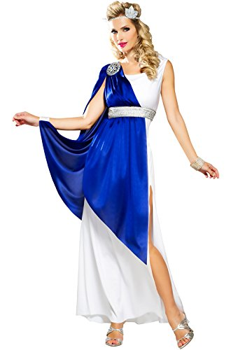 Greek Empress Adult Costume - Womens ,BLUE/WHITE Medium (8-10) ()