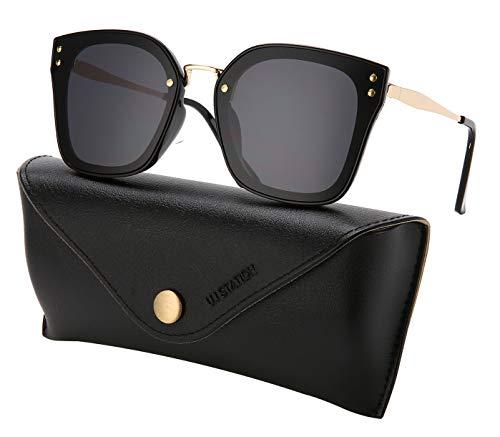 mirrored sunglasses for women, cat eye mirrored sunglasses, ladies sunglasses 7176 with sunglasses case (BLACK)