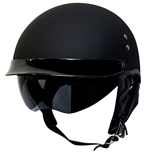 Voss 888FRP Hand Laid Fiberglass DOT Half Helmet with Drop Down Sun Lens for Cruiser Street Bike Men and Women - M - Matte Black