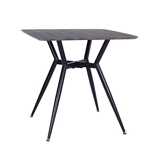 Dining Table Round Corner Coffee Table Industrial Brown Round Mid-Century Modern Kitchen Table with MDF Tabletop and Metal Base for Dining Room Living Room - Table Mdf Modern