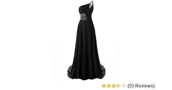 MYPROM Womens One Shoulder Beadings Chiffon Bridesmaid Long Prom Dresses 2X Black at Amazon Womens Clothing store: