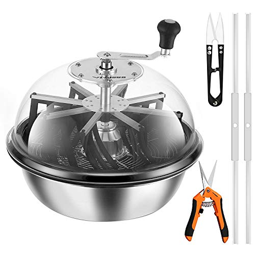 VIVOSUN 19 inch Bud Leaf Bowl Trimmer- Clear Visibility Dome, Sharp Stainless Steel Blades for Spin Cut & Solid Metal Gear Box, Hand Pruner Included (Upgraded Version)