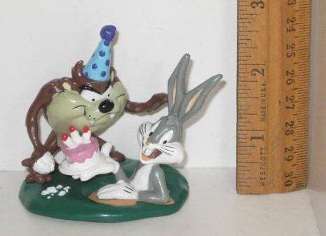Vintage 1995 RETIRED Warner Bros. / Applause PVC Looney Tunes Figurine Toy BUGS BUNNY & TAZ Cake - Figure Applause