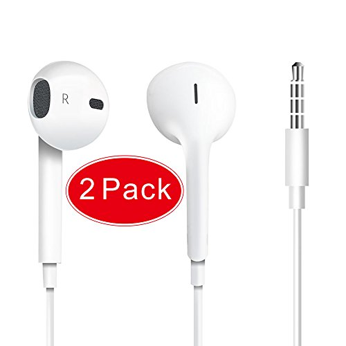 Jin&C Premium Quality Headphones Earphones Earbuds with Mic & Remote Control, Compatible with iPhone/iPad /iPod 2PACK -White … (2)