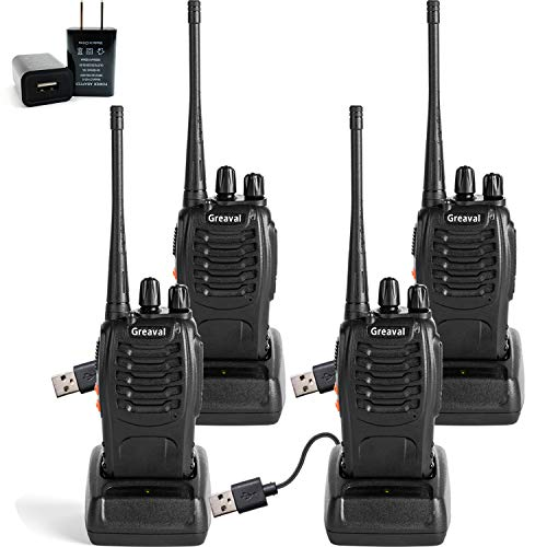 Greaval Rechargeable Long Range Walkie Talkies UHF 400-470MHz 16 Channels FRS GMRS 2 Way Radio 4 Pack