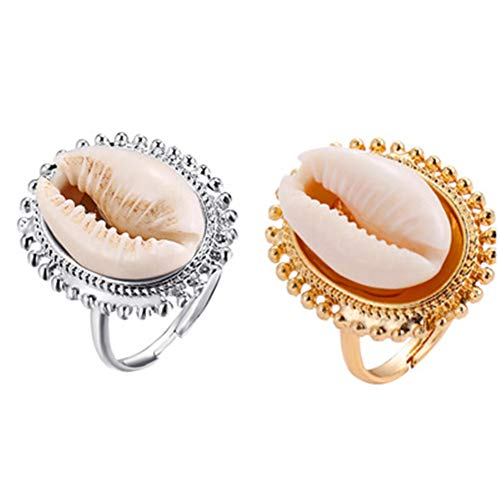 (Aineecy Cowrie Shell Rings Adjustable Natural Conch Shell Open Index Finger Rings for Women Girls Fashion Summer Beach Jewelry 2Pcs/Set)