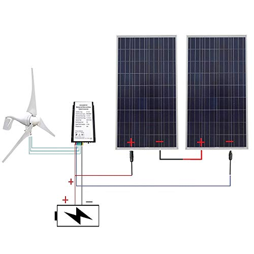 - ECO-WORTHY 24 Volts 700 Watts Wind Solar Powered System: 1pc 12V/24V 400W Wind Generator + 2pcs 12V 150W Polycrystalline Solar Panel + 24cm Cable Connector