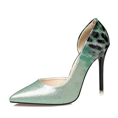 Xue Qiqi Mode Damenschuhe Leder nacht Tipp bemalte Leder Damenschuhe High Heel Schuhe fein mit wilden flachen Mund einzelne Schuhe Die grüne 79d989