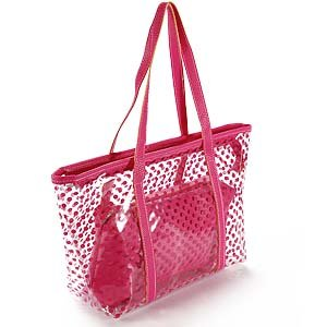 hot pink ladies Polka Dot Transparent PVC jelly beach bag ...