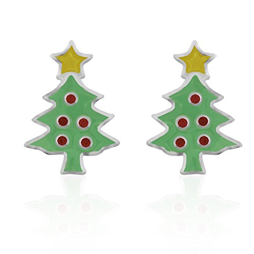 Green Enamel Christmas Tree (Children's 925 Sterling Silver Colored Yellow Green Enamel Holiday Christmas Tree Stud Earrings)