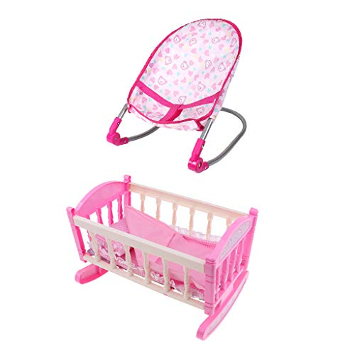 Flameer Baby Doll Bouncer Chair Bed Cradle Crib Model ABS Plastic Furniture Model for 9-12inch Doll Kids Pretend Play Toy
