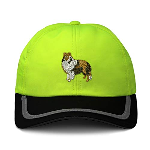 (Reflective Running Hat Shetland Sheepdog Embroidery Polyester Soft Neon Hunting Baseball Cap One Size Neon Yellow/Black Design Only)