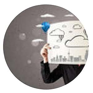 alfombrilla de ratón El hombre de negocios que sostiene una cartulina con el paisaje urbano frente a su h - ronda - 20cm