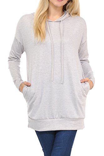 Embroidered Hoody Tunic - SSOULM Women's Casual Long Sleeve Tunic Top Hoodie Sweater with Pockets HEATHERTAUPE L