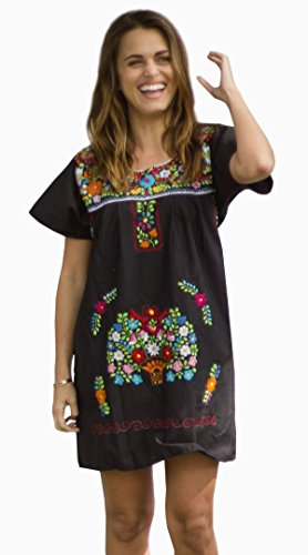 Liliana Cruz Embroidered Mexican Peasant Mini Dress (Black size X-large) by Liliana Cruz (Image #4)