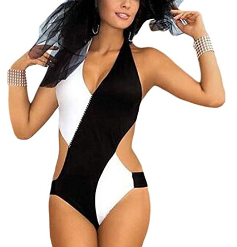 RedBeana Women Chic Glamour Monokini Swimsuit Black & White X-Large