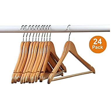Home-it (24 Pack) Natural wood Solid Wood Clothes Hangers, Coat Hanger Wooden Hangers