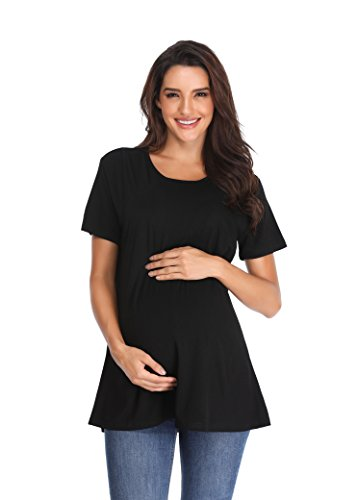 Giorzio Women's Short Sleeve Maternity Nursing Tee Shirt Crew Neck Flattering Sides Double Layer Breastfeeding Top,Black M