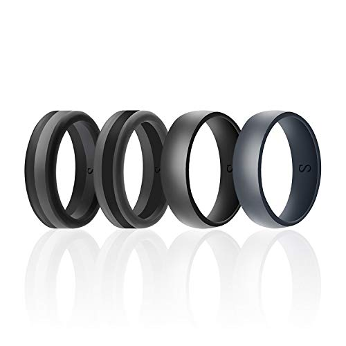 SANXIULY Men's Functional Silicone Ring&Rubber Wedding Bands for Workout and Sports Width 8mm Pack of 4 Size 9 ()